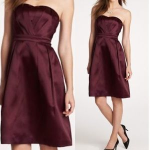 NWT J. Crew Silk Organza Strapless Burgundy Dress
